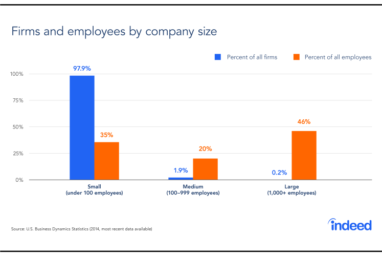 Graph comparing firms and employees by company size.