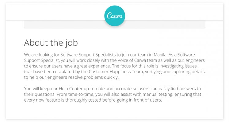 A job posting from Canva uses approachable, straightforward language to describe their Software Support Specialist role.   Image source: Canva