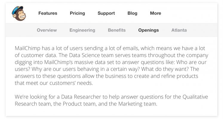 A job posting from MailChimp for a Data Researcher role uses simple formatting to tell us more about what the role entails.   Image source: MailChimp