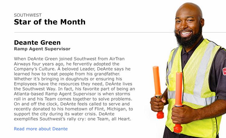Ramp Agent Supervisor DeAnte Green exemplifies Southwest's organizational culture.