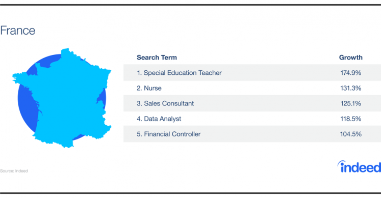 Table showcasing the growth increase for the top 5 search terms in France.