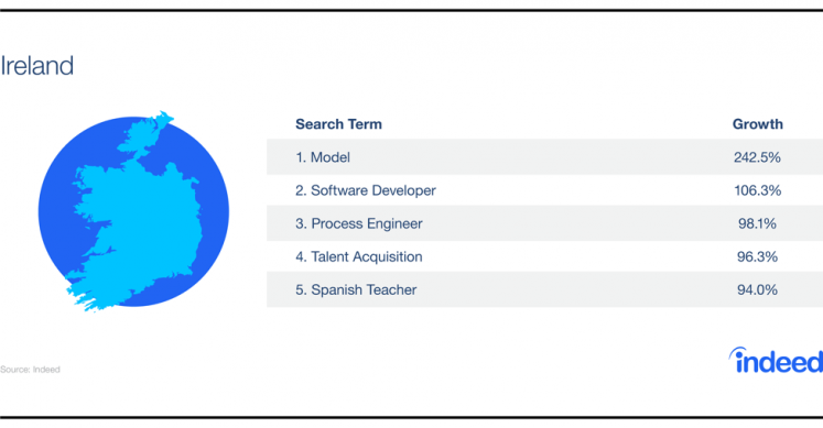 Table showcasing the growth increase for the top 5 search terms in Ireland.