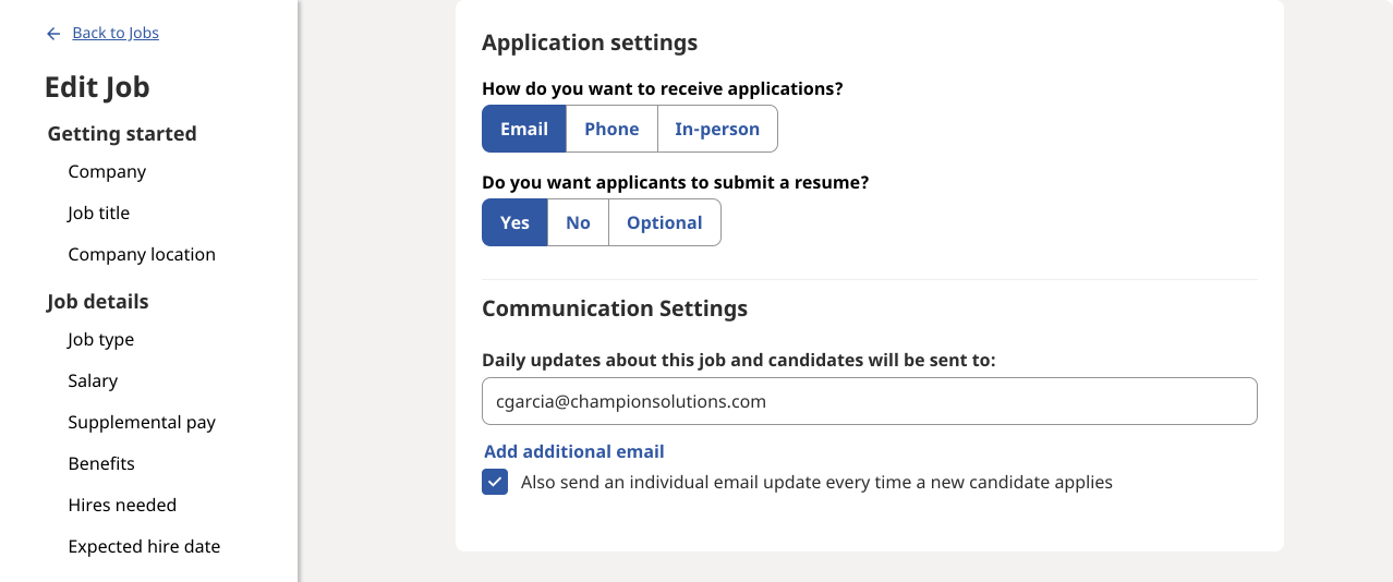 application and communication settings page