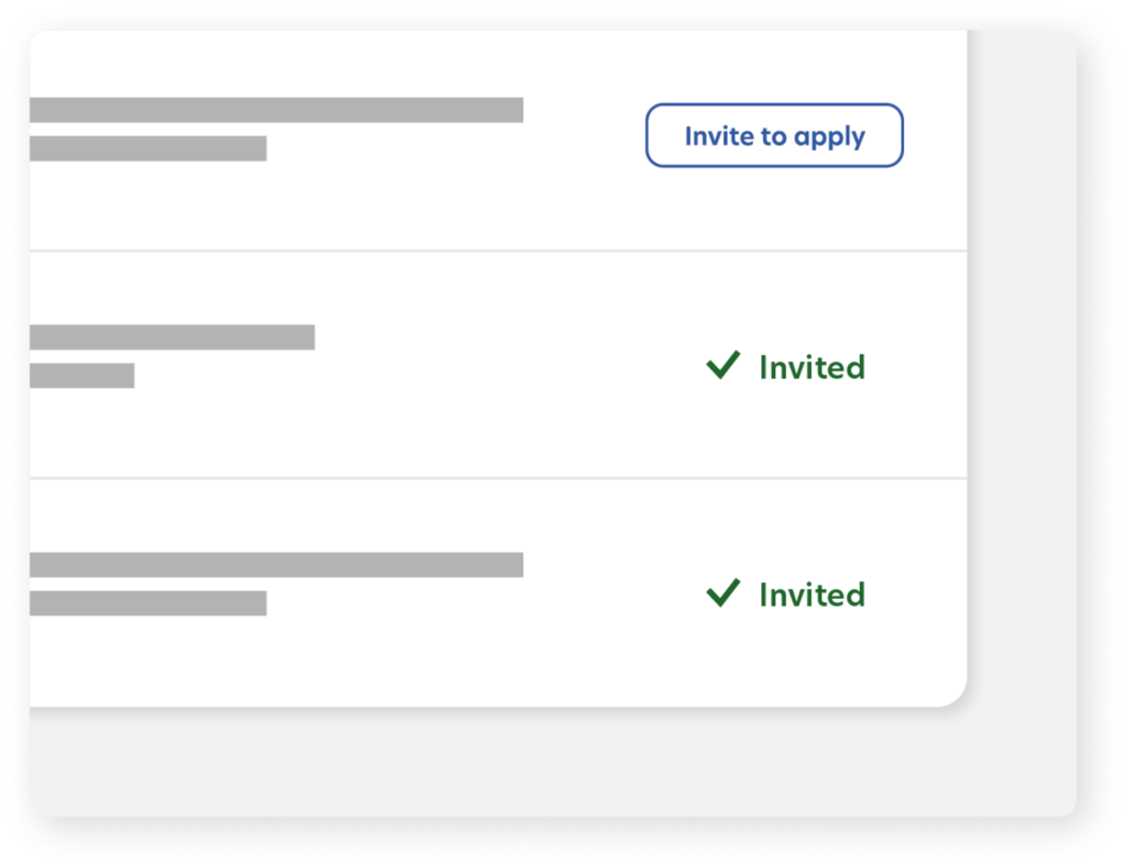 "Illustration of Matched Candidates with an ""Invited"" checkmark showing that they've been invited to apply"