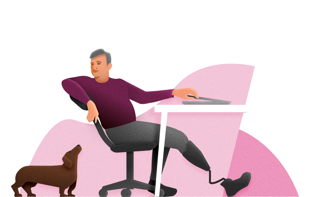 Illustration of man with prosthetic leg leaning back in office chair at desk, with dachshund dog near his chair.