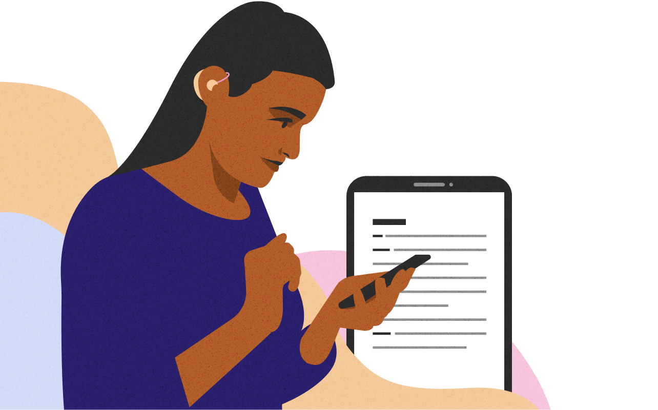 Illustration of a woman with hearing aid reading her smartphone, with illustration of what is on the screen in the background.