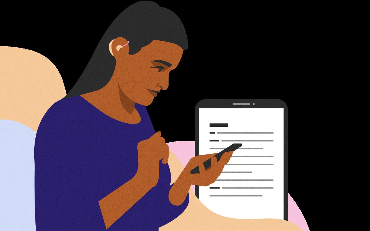 Ilustração de uma mulher com aparelho auditivo lendo no celular com ilustração do que está na tela no plano de fundo.