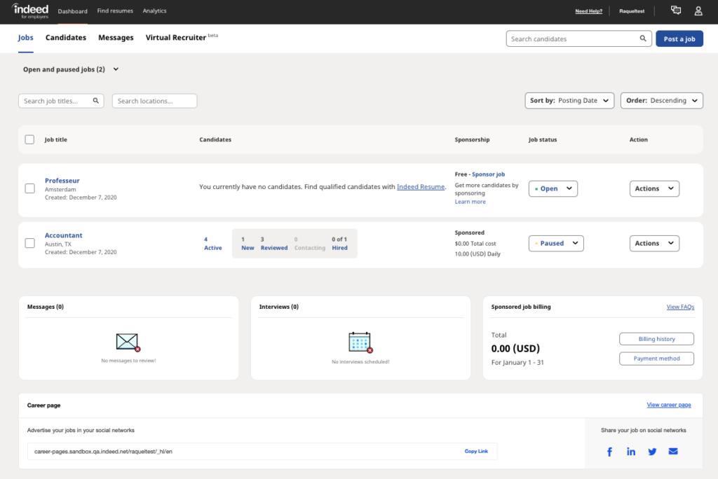 Screenshot of the employer dashboard
