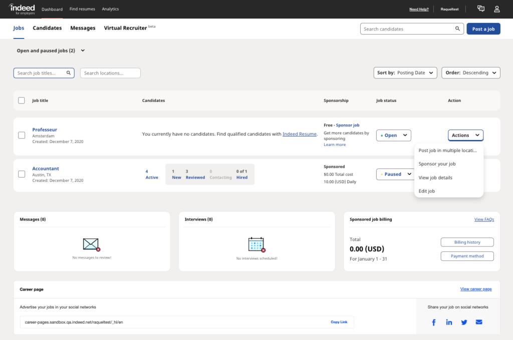 Screenshot of the employer dashboard drop down actions menu