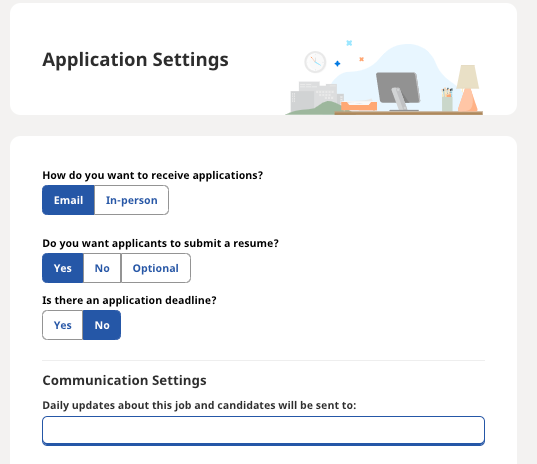Screenshot of application and communication settings within employer dashboard