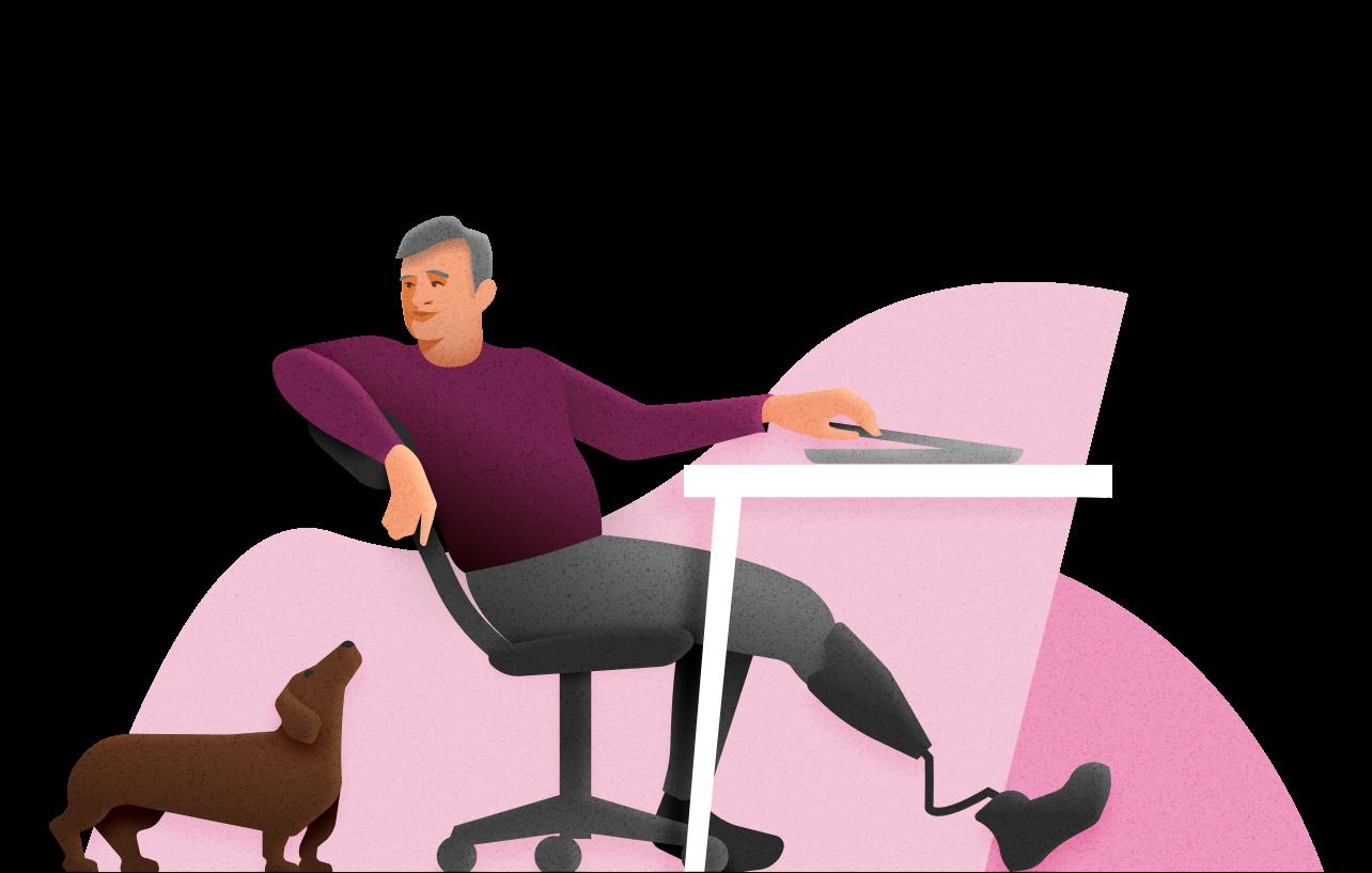 Afbeelding van een man met een beenprothese die achterover leunt in een bureaustoel. Naast de stoel zit een teckel.