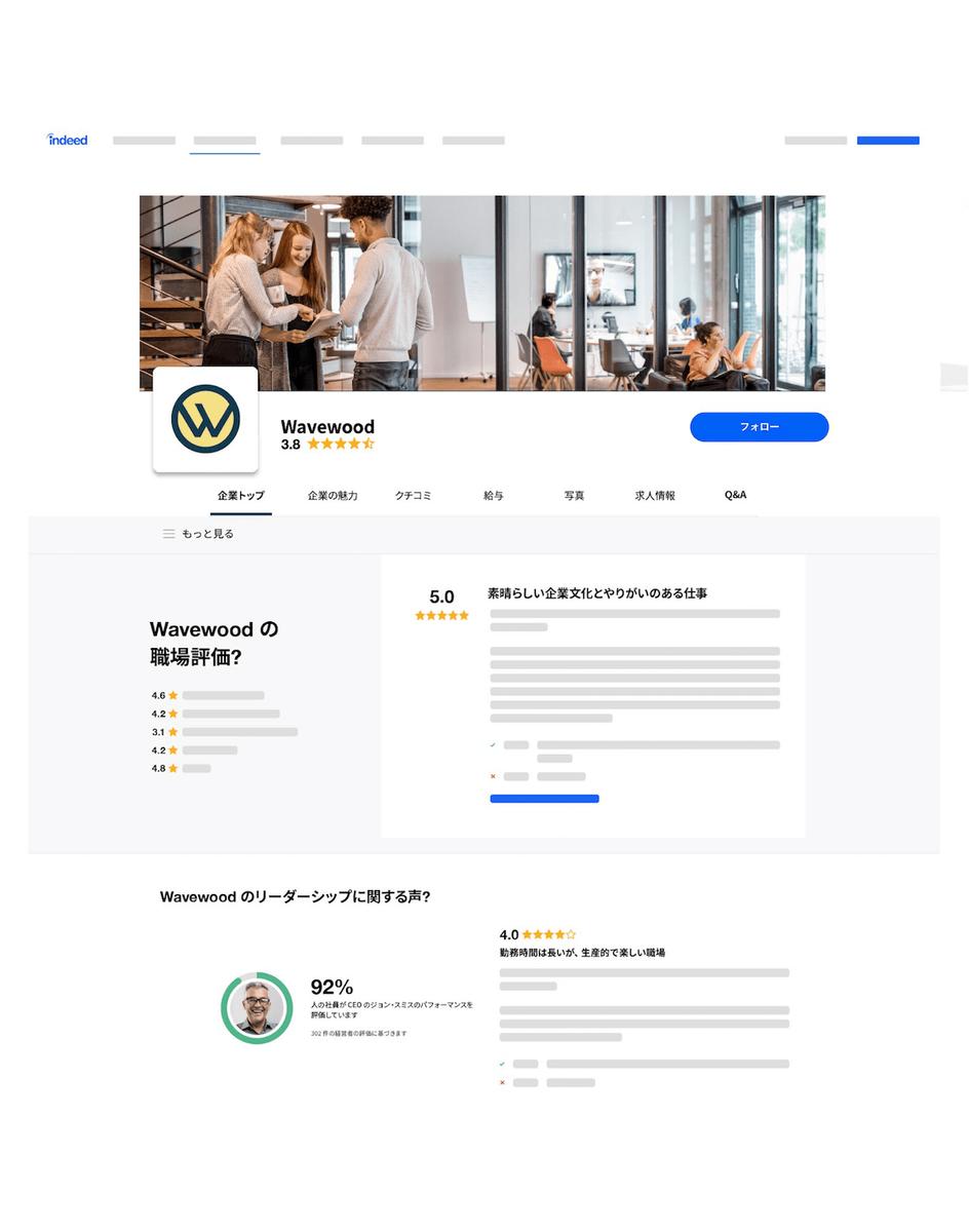 求人検索エンジン「Indeed」の企業ページイメージ