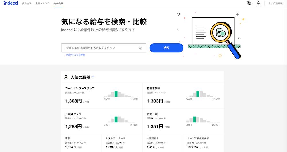 求人検索エンジン「Indeed」の給与検索画面