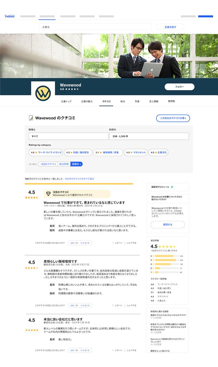 企業ページの一例の画面イメージ