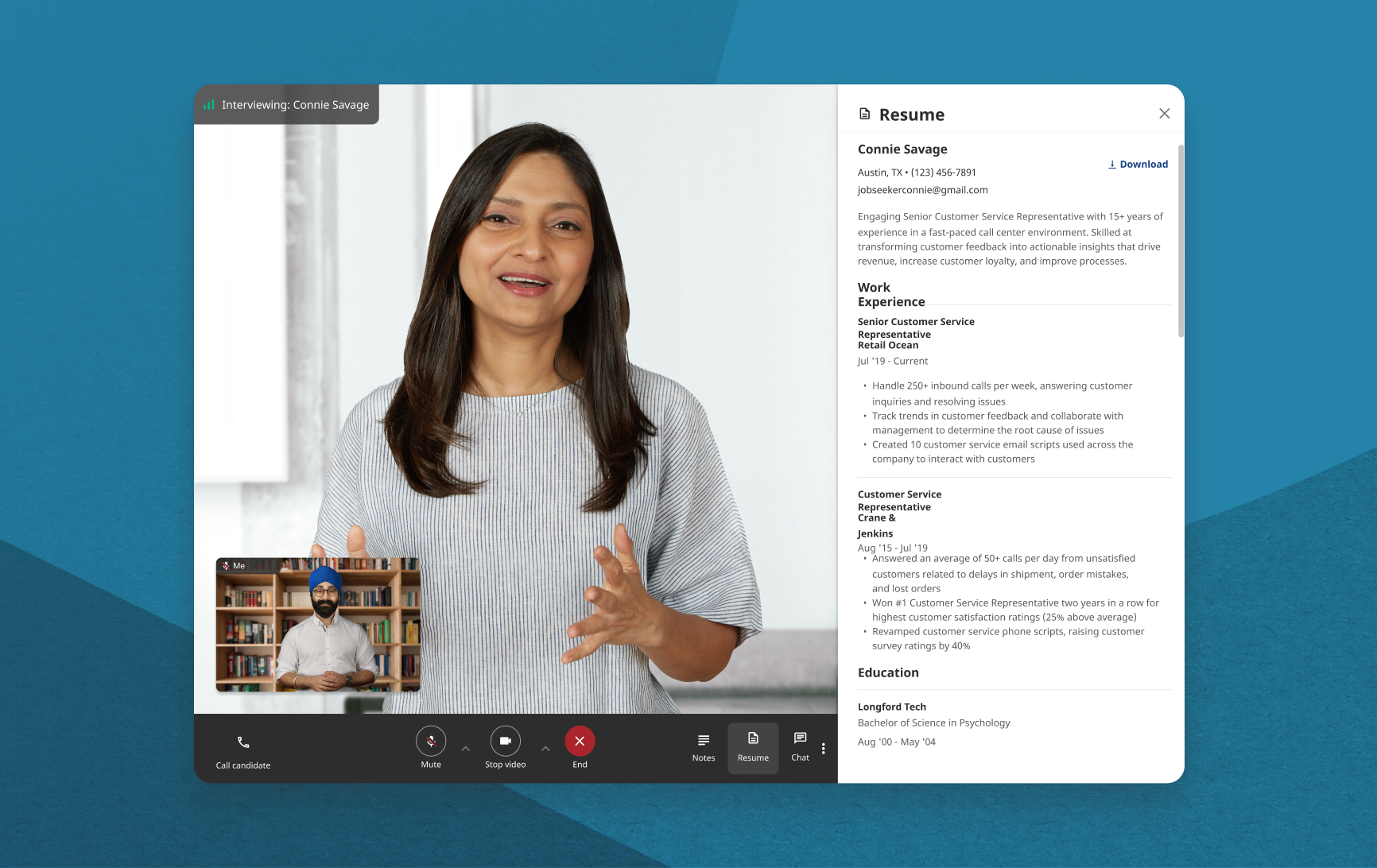 Screenshot of an employer interviewing a candidate on the hiring platform. The candidate resume is displayed beside the video.