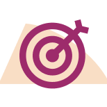Icon of a bullseye board with an arrow in the middle symbolizing feeling purpose at work.