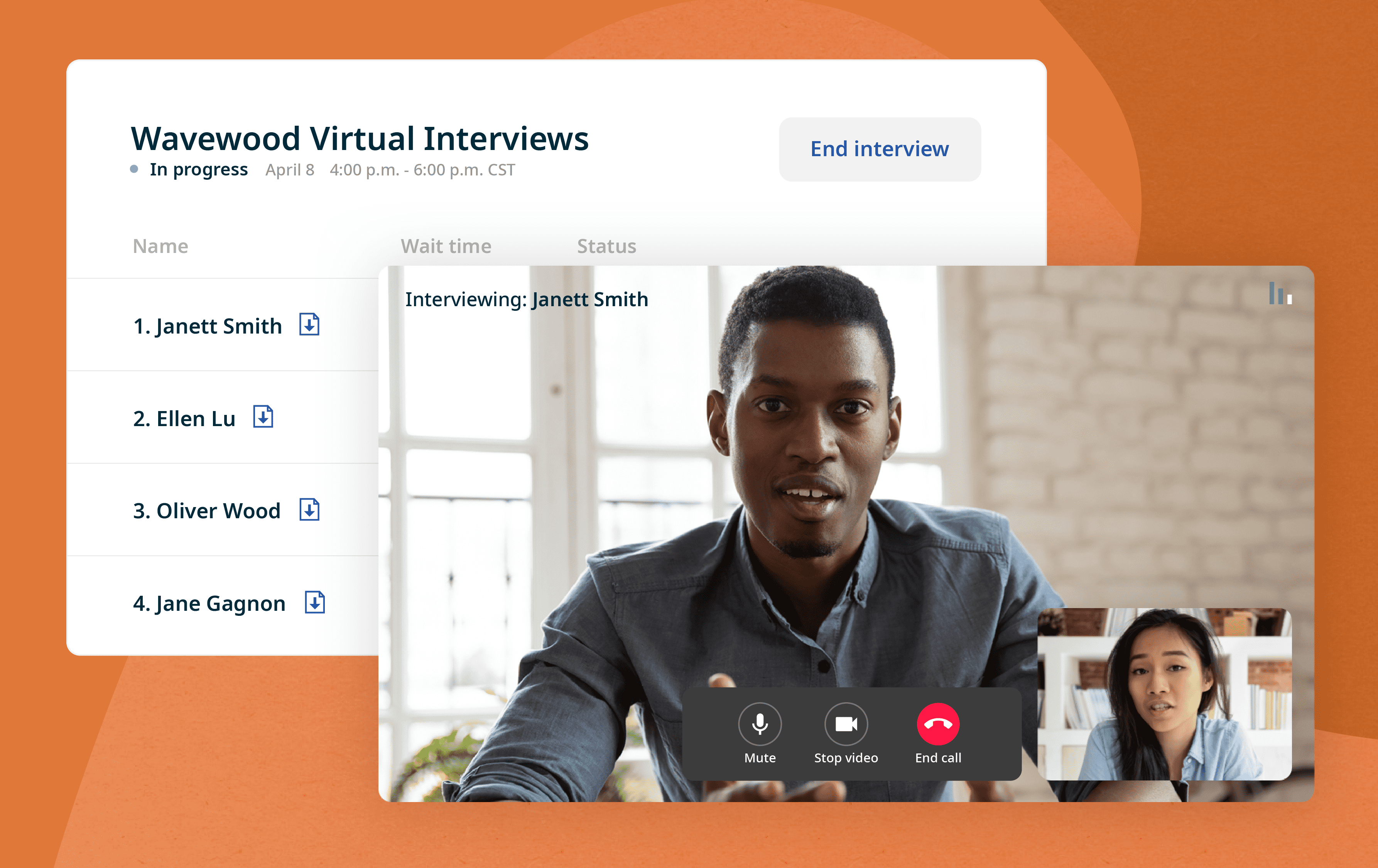 On interview day, employers join Indeed Interview and can review candidate resumes prior to the virtual interview.