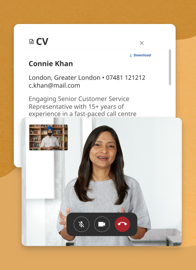 Screenshot of an employer interviewing a candidate on the hiring platform. The candidate's CV is displayed beside the video