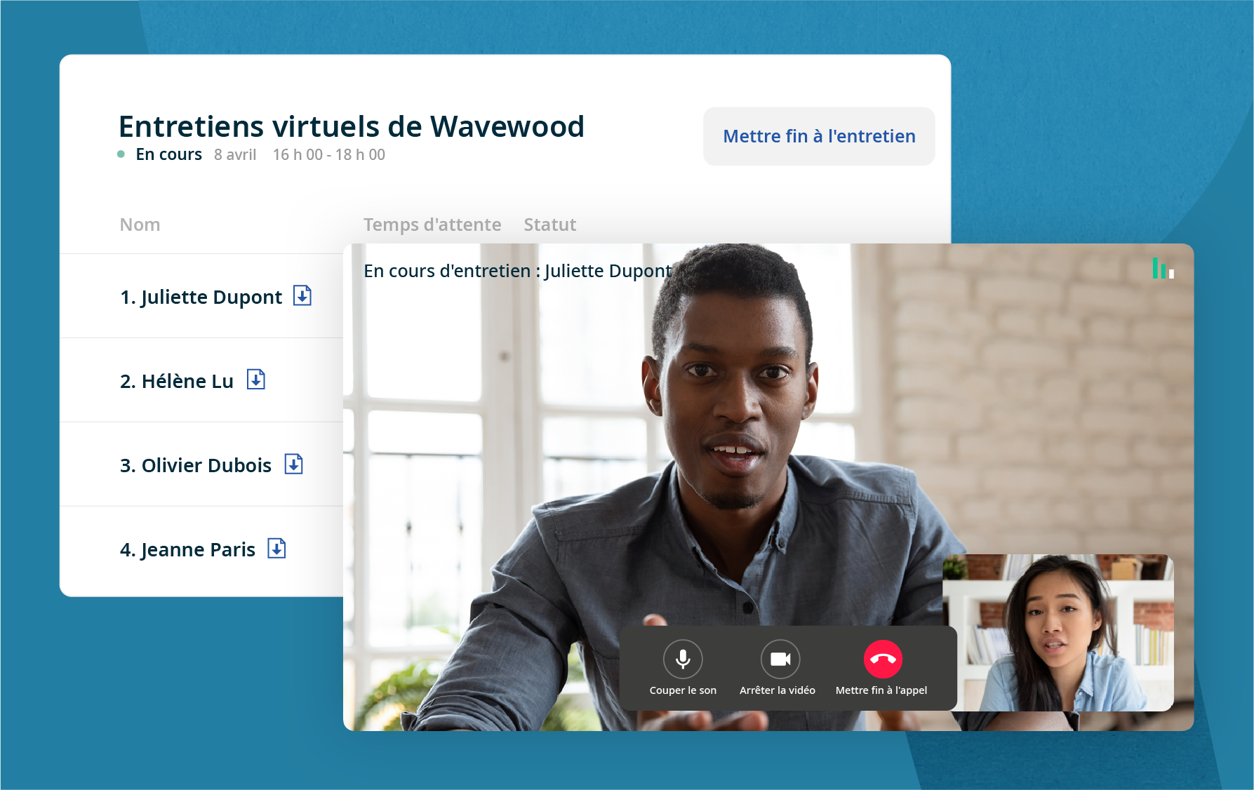Le jour de l'entretien, les employeurs peuvent se connecter à Indeed Visio et passer en revue les CV des candidats avant l'entretien virtuel.